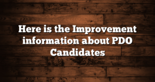 Here is the Improvement information about PDO Candidates