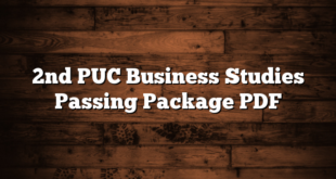 2nd PUC Business Studies Passing Package PDF